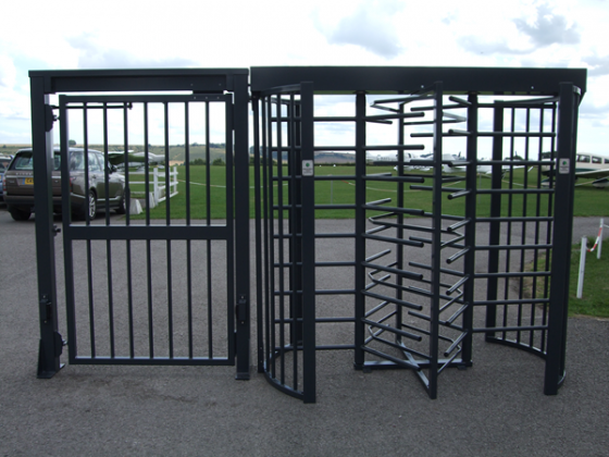 480A – 204 Double Turnstile (type 480A – 209) with Pedestrian Gate (type 188A – 200)
